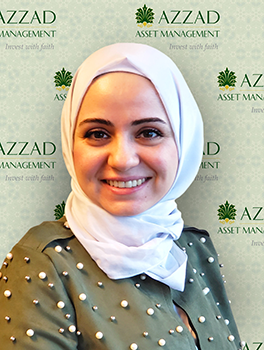 Shaza is an investment analyst at Azzad Asset Management. She holds a bachelor's degree in business administration (BBA) and a Master of Science degree in finance (MSF) from American University – Washington D.C.